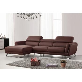 modern sofas divani casa doss modern brown eco-leather sectional sofa KXTEXMM
