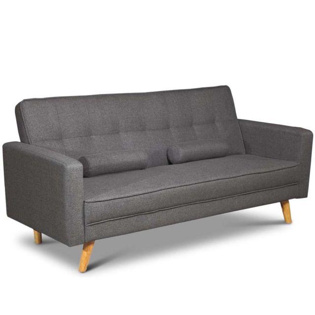 modern stylish 2 / 3 seater click clack sofa bed scandi dark grey DXMKBSS