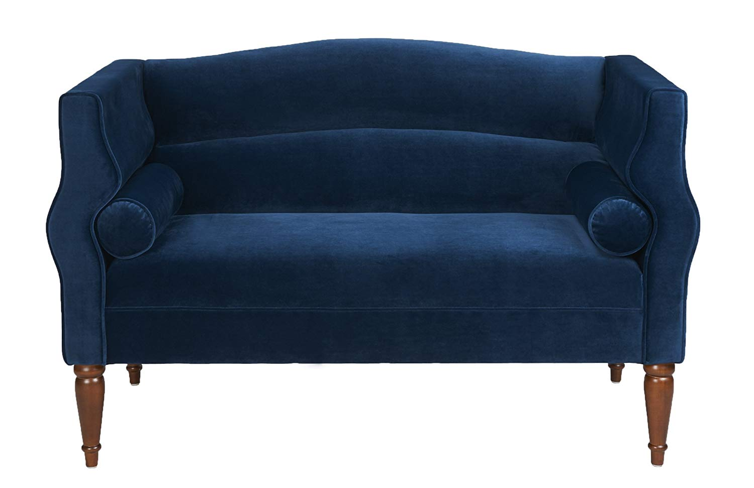 navy blue loveseat amazon.com: jennifer taylor home joanna collection contemporary velvet  upholstered loveseat with 2 PAYMCRB