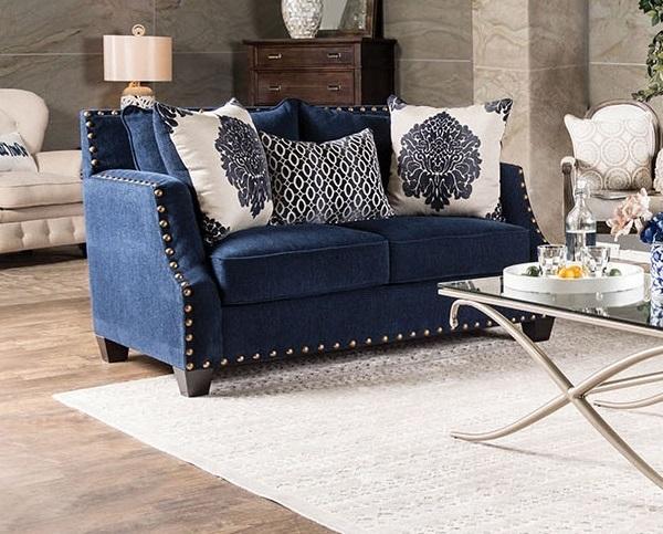 Elegance of navy blue loveseat furniture