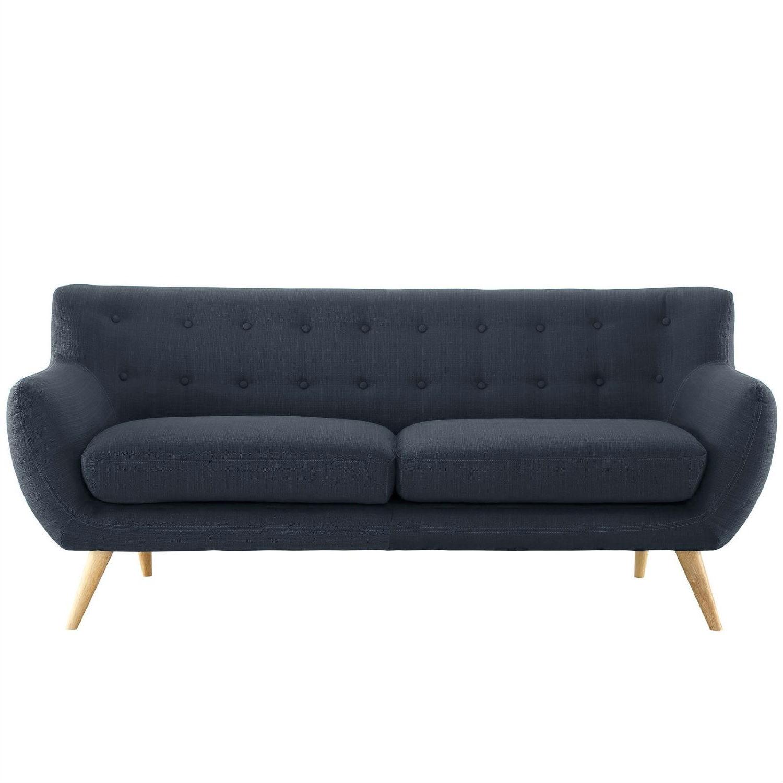 navy blue loveseat modern navy blue linen upholstered mid-century style sofa loveseat PGSYNWD