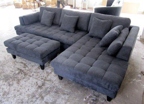 new modern couches amazon.com - 3pc new modern dark grey microfiber sectional sofa chaise  ottoman MZHVUEQ