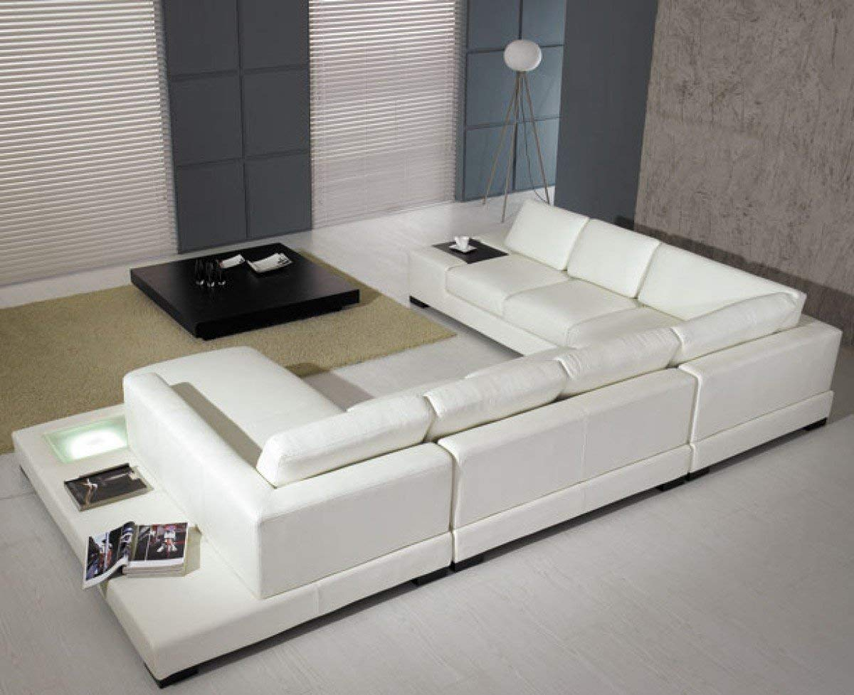 new modern couches amazon.com: modern leather 5 piece sectional sofa in white: kitchen u0026 dining JYGITIR