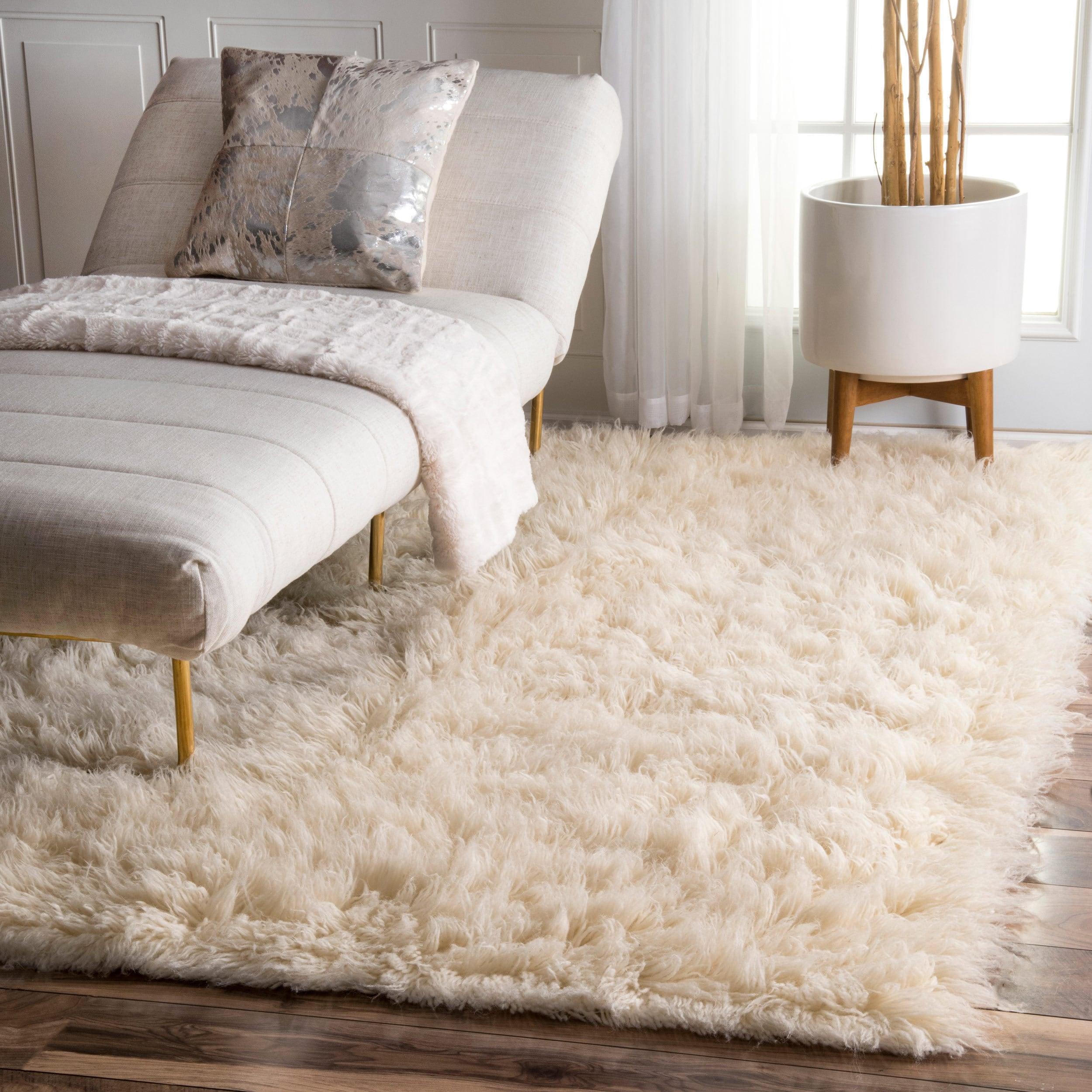 nuloom hand-woven flokati wool shag rug (5u0027 x 7u0027) - free shipping today INQBFCW