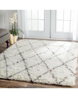nuloom handmade moroccan trellis wool shag rug (12u0027 x 15u0027) (ivory ROKPKZN