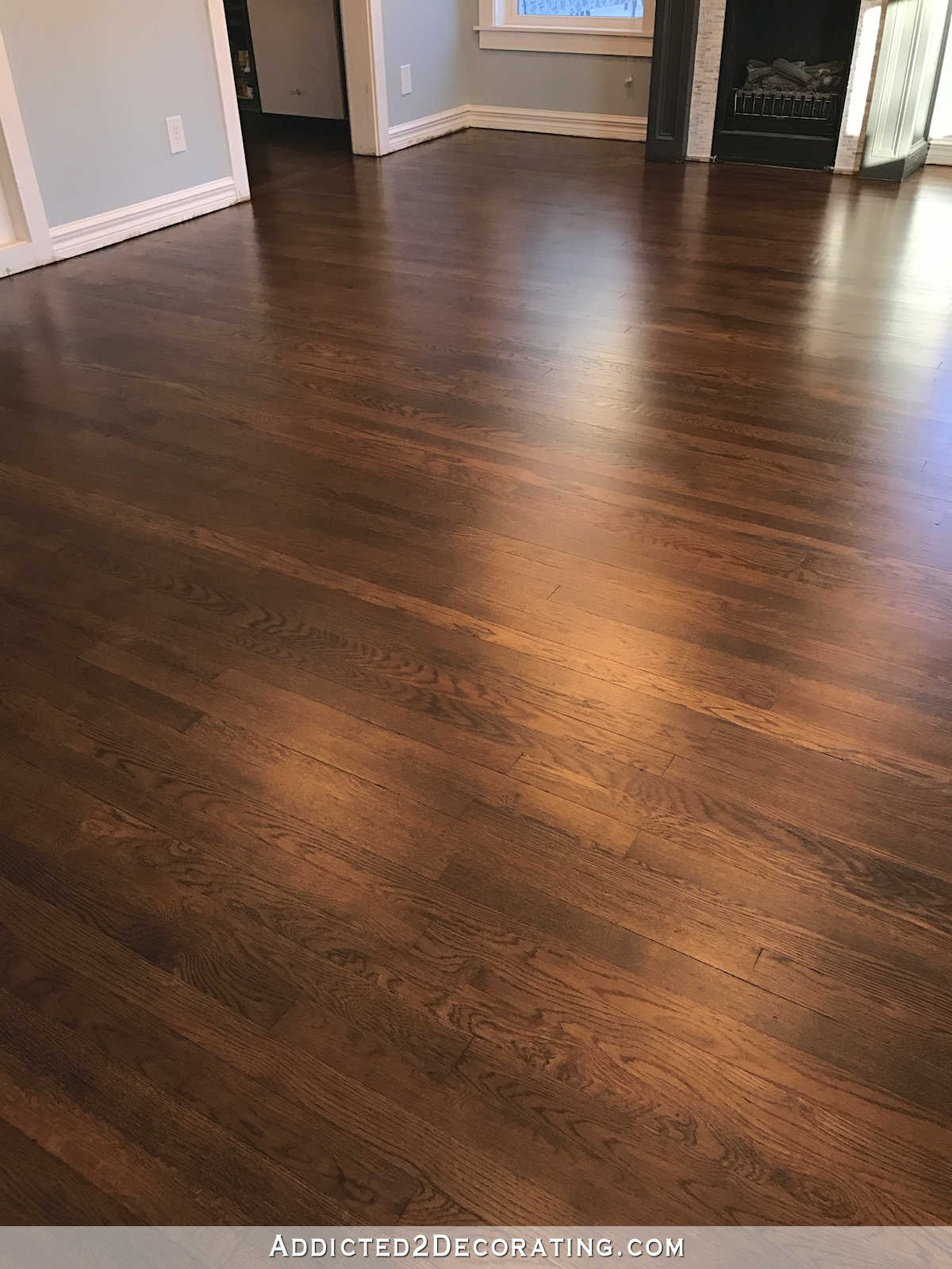 oak hardwood flooring refinished red oak hardwood floors - entryway and living room ZLOPSNQ