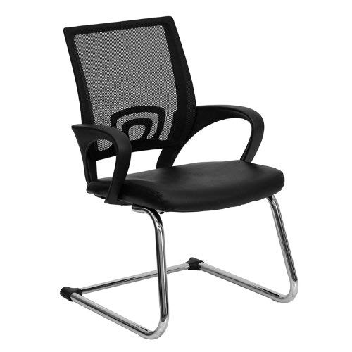 office chairs without wheels flash furniture black mesh side reception chair with leather seat and sled RQMBTFK
