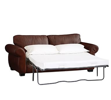 pearce leather sleeper sofa, down blend wrapped cushions, leather signature  espresso ... XFEBRWL