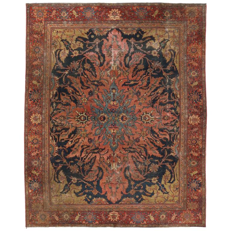 Persian area rugs antique farahan rug with modern industrial style, persian area rug for sale REJCPIA