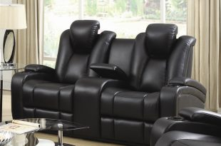 power loveseat element power recline loveseat in black leather upholstery by coaster -  601742p RNNNSZP