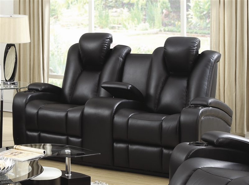 power loveseat element power recline loveseat in black leather upholstery by coaster -  601742p RNNNSZP