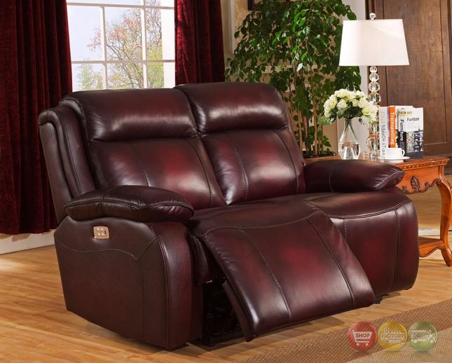 power loveseat faraday genuine leather power recline loveseat in deep red, power headrest EGGZKQC