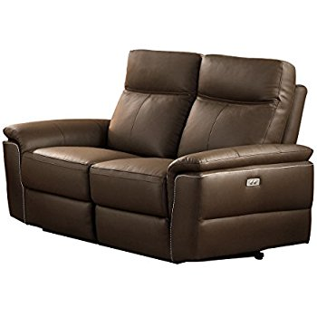 power loveseat homelegance olympia modern design power reclining loveseat top grain  genuine leather match, GHFNVSB