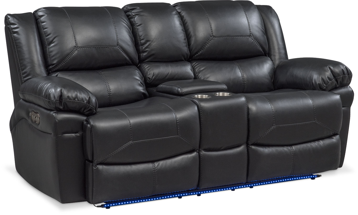 power loveseat living room furniture - monza dual power reclining loveseat with console - DVECUTL