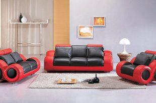 red sofas divani casa 4088 - contemporary black and red leather sofa set SEMIOXB
