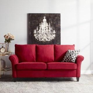 red sofas handy living provant sofast flared arm crimson red microfiber sofa QWFFJQL