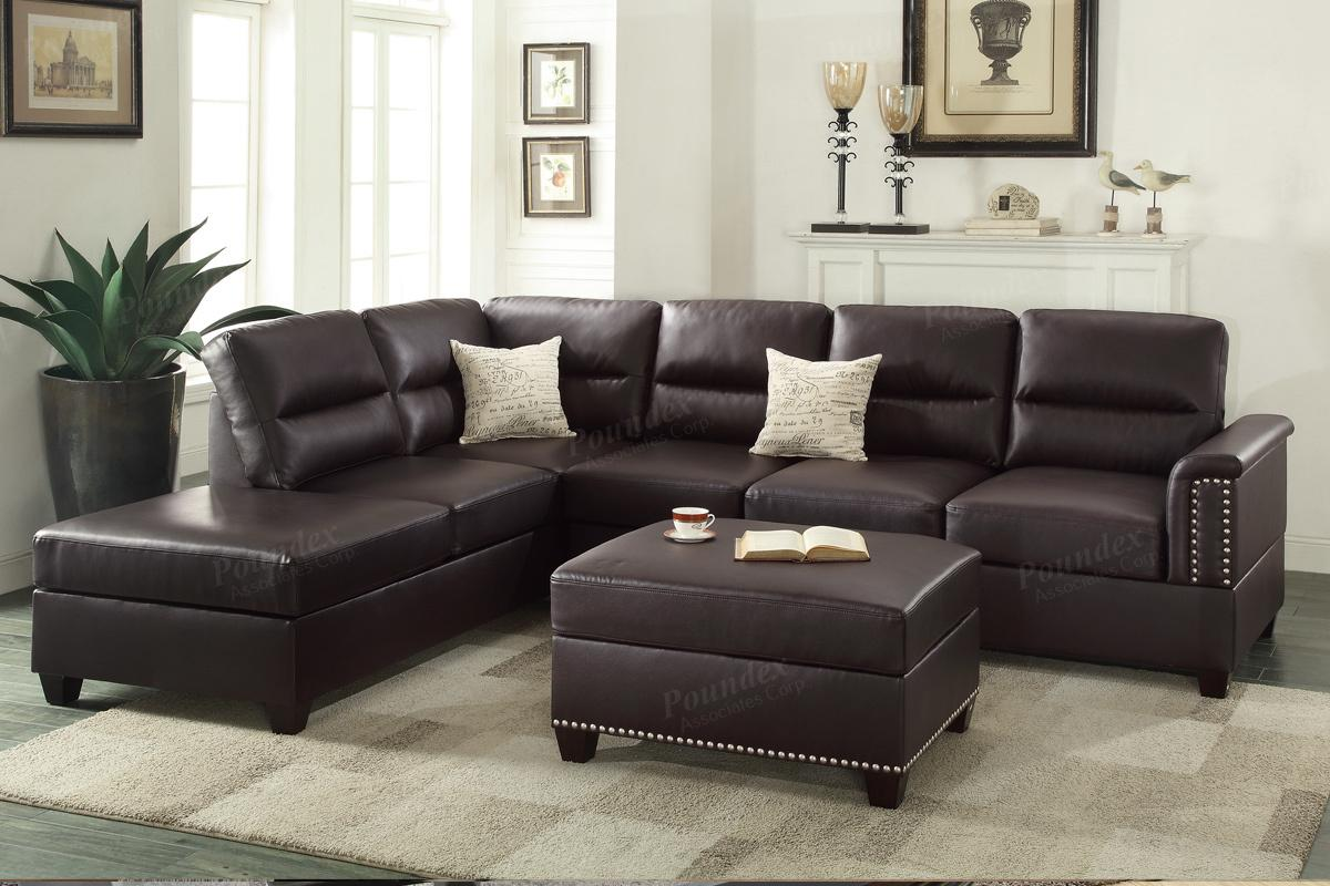 rousey brown leather sectional sofa UCPKQFU