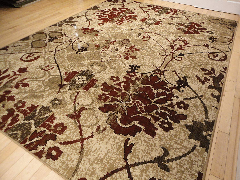 Rug clearance amazon.com: modern burgundy rugs living dining room red cream beige area  rugs YRHKEMK