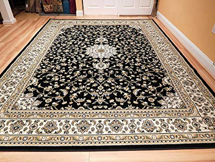 Rug clearance black 8x11 persian rug oriental rugs 8x10 area rug traditional living room UHVSHIL