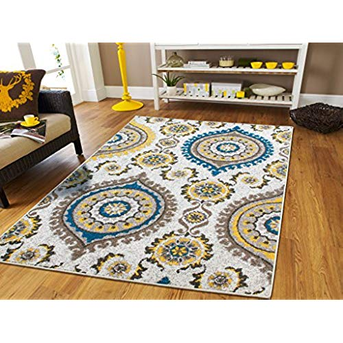 Rug clearance ... rugs for living room large area rugs blue gray cream modern flowers HZIGREG