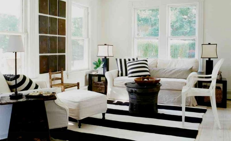 rug decor how to enhance a décor with a black and white striped rug HTSCFQR
