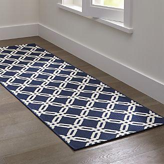 runner rug arlo ii indoor/outdoor blue lattice rug runner CPKZLRJ
