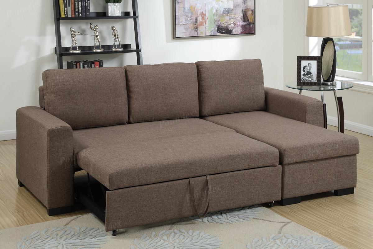 samo brown fabric sectional sofa bed KVQSCOU