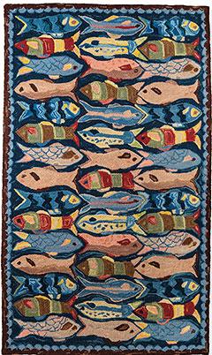 school of fish wool hooked rugs HYDIBBG