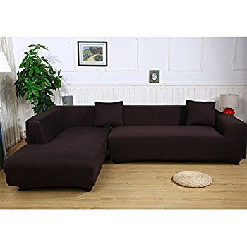 sectional couch covers premium quality sofa covers for l shape, 2pcs polyester fabric stretch  slipcovers RLKUKTZ