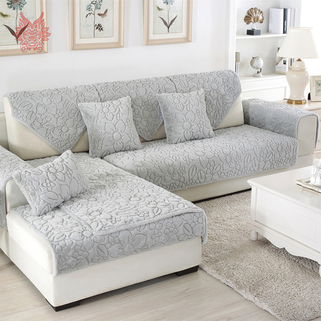 sectional couch covers white grey floral quilted sofa cover plush long fur slipcovers fundas de sofa BXSDIBQ