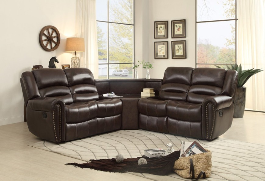 sectional reclining sofa 3 piece bonded leather sectional reclining nail head accent sofa JFOUCVG
