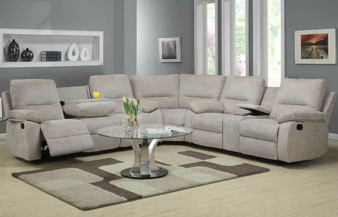 sectional reclining sofa living room with sectional recliner sofa and glass top coffee table : IOOJJJE