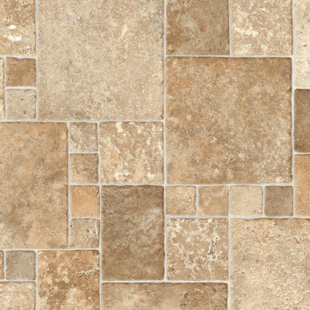 Sheet vinyl flooring trafficmaster sandstone mosaic 12 ft. wide vinyl sheet GMSIBAP