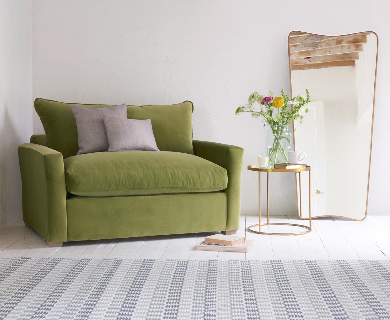 single sofa bed pavilion love seat sofa bed in our olive plush velvet IGLMTNB