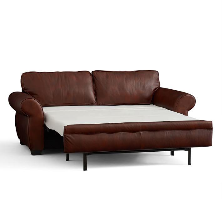 sleep sofa pearce leather deluxe sleeper sofa | pottery barn FEZSRVN