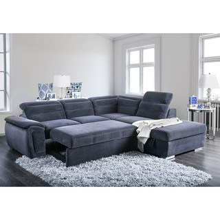 sleeper sectional sofa furniture of america alina contemporary 2-piece chenille convertible sleeper  sectional with ottoman QHUQNYM