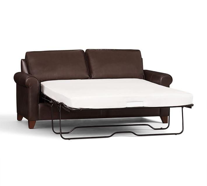 sleeper sofa leather cameron roll arm leather sleeper sofa | pottery barn CXFHGNE