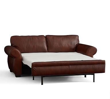 sleeper sofa leather pearce leather deluxe sleeper sofa | pottery barn ENXFGDO