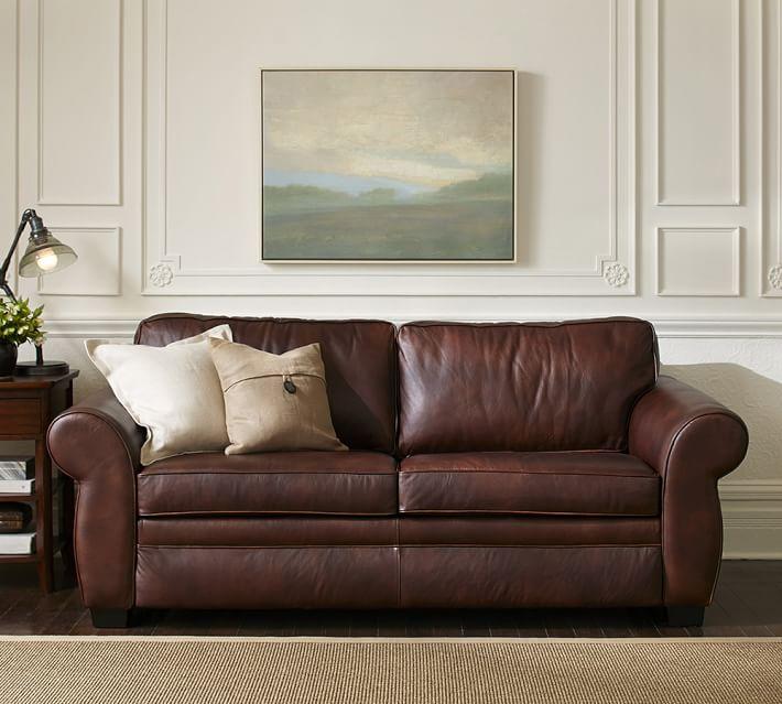 sleeper sofa leather pearce leather sleeper sofa | pottery barn THYNMJR