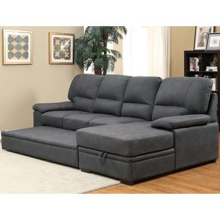 sleeper sofa sectional furniture of america delton contemporary faux nubuck sleeper sectional (2  options available) EOAHVUM