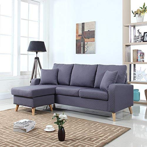 small sectional sofa with chaise divano roma furniture mid century modern linen fabric small space sectional  sofa VCEBJTK