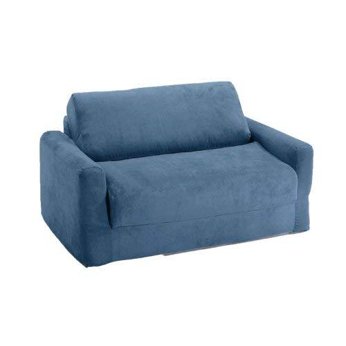 small sofa bed fun furnishings sofa sleeper, blue micro suede PCYNWXS