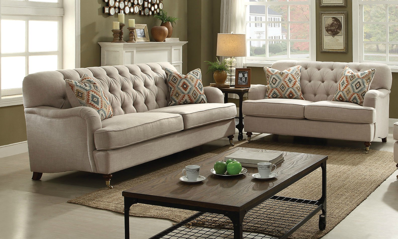 sofa and loveseat set alianza beige fabric 2pc button tufted sofa + loveseat set w/ 4 accent BCIOJTQ