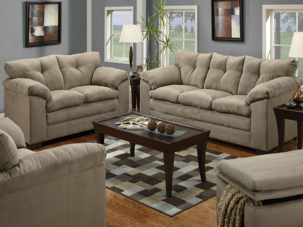 sofa and loveseat set casual yet sophisticated the luna mineral microfiber sofa and loveseat ,  including GHXUOSK