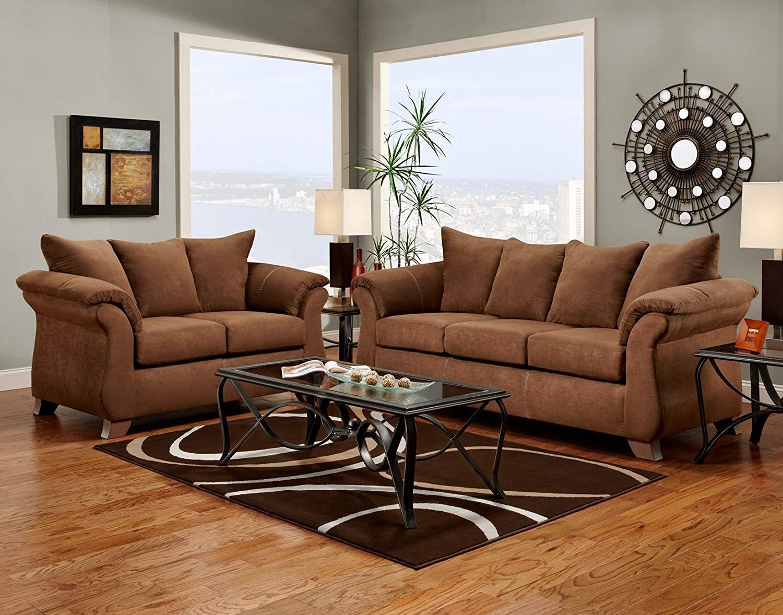 sofa and loveseat sets amazon.com: roundhill furniture aruba microfiber pillow back sofa and loveseat  set, chocolate: VYTCGXT