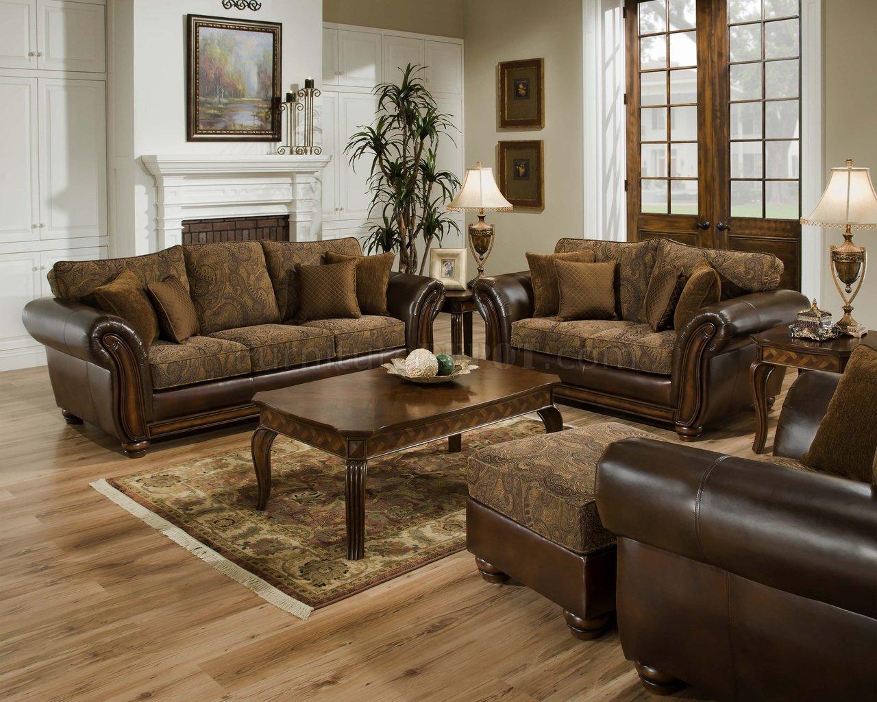 sofa and loveseat sets vintage chenille sofa u0026 loveseat set w/brown bonded leather base OSWIATL
