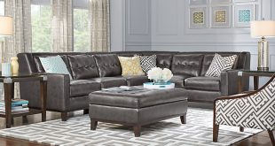 sofa couch for living room reina point gray leather 4 pc sectional KZDLRYO
