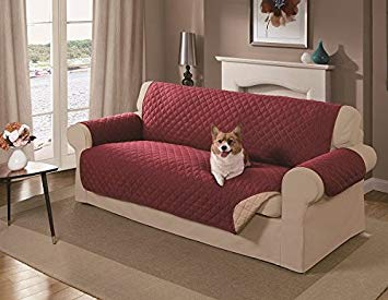 sofa covers amazon.com : mason reversible sofa cover, red : pet supplies GRMXUIS