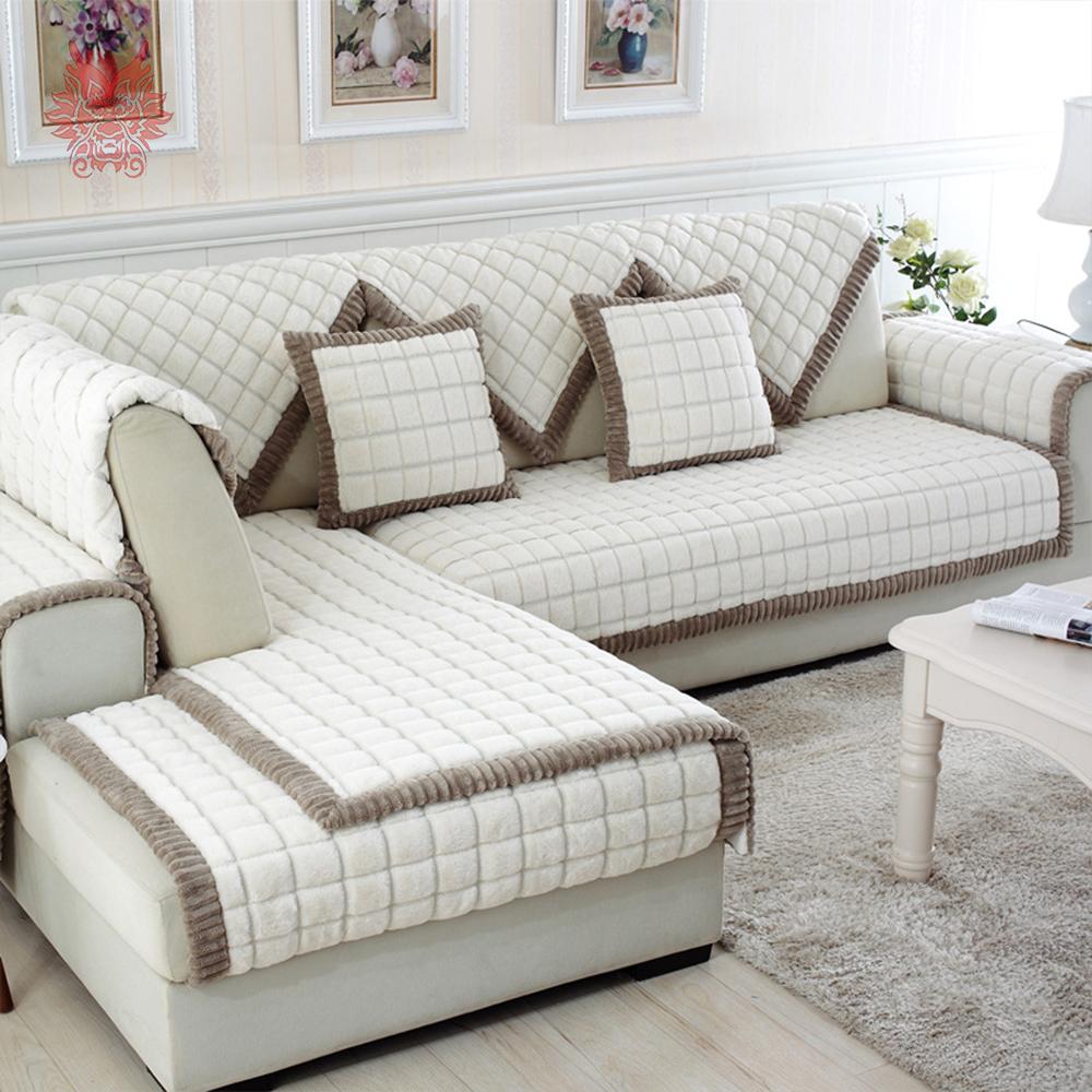 sofa covers white grey plaid plush long fur sofa cover slipcovers fundas de sofa EDRWMDS