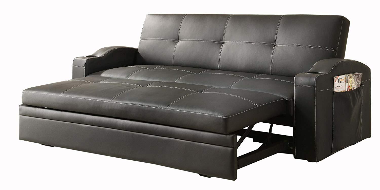 Sofa pull out bed amazon.com: homelegance 4803blk convertible/adjustable sofa bed, black  bi-cast vinyl: kitchen u0026 dining GFWGCVN